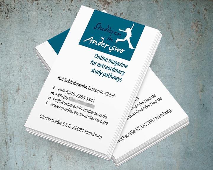 Visitenkarten Studieren in Anderswo