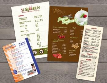 Beispiele für Preislisten, Speise- & Getränkekarten
