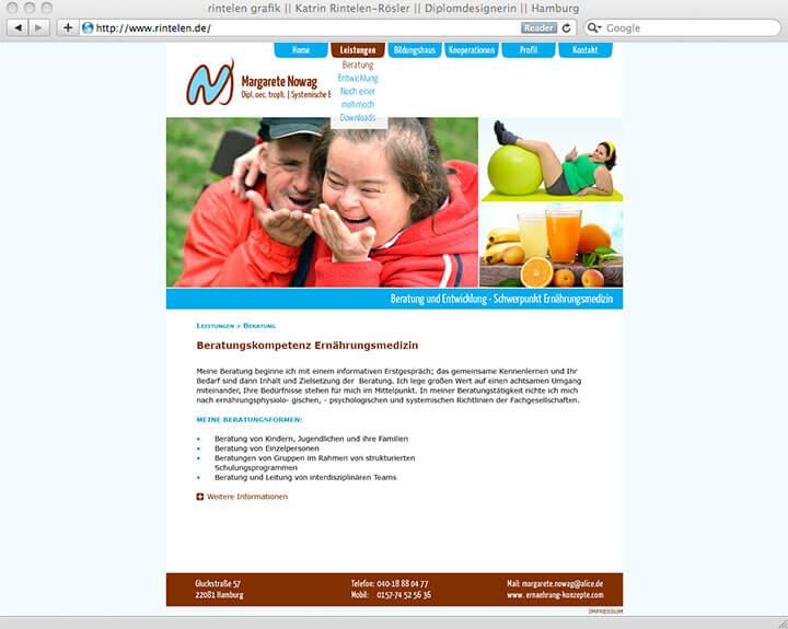 Website Margarete Nowag, Leistungen