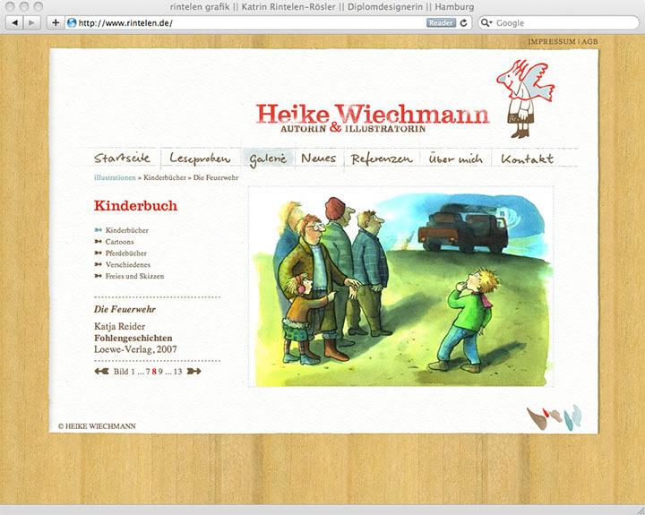 Website Heike Wiechmann, Galerie Einzelseite