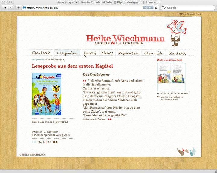 Website Heike Wiechmann, Leseprobe